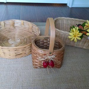 Three  Vintage Boho Vibe Wicker Baskets
